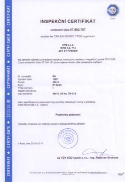 Inspekční certifikát - rozvaděče