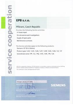 Potvrzení - prodej a servis elektromotorů Siemens